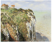 Ocean Cliff Prints - Cliff at Dieppe Print by Claude Monet
