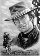White Horses Drawings Prints - Clint Eastwood American Legend Print by Andrew Read