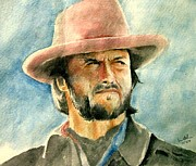 Cow Boy Paintings - Clint Eastwood by Nitesh Kumar