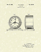 Thomas Drawings Prints - Clock Case 1932 Patent Art Print by Prior Art Design