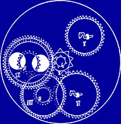 Clocks Drawings - Clock Gears Blueprint by