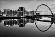 Black And White. Mono. Monochromatic Posters - Clyde Arc Squinty Bridge Poster by John Farnan