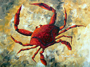 Coastal Crab Decorative Painting Original Art Coastal Luxe Crab By Madart Print by Megan Duncanson