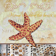 Sea Shore Prints - Coastal Decorative Starfish Painting Decorative Art By Megan Duncanson Print by Megan Duncanson