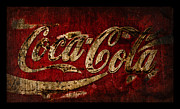 Closeup Coke Sign Prints - Coca Cola Grunge Print by John Stephens