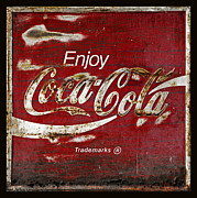 Antique Coca Cola Sign Prints - Coca Cola Grunge Sign Print by John Stephens