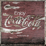 Antique Coke Sign Posters - Coca Cola Pink Grunge Sign Poster by John Stephens