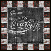 Coca-cola Sign Art - Coca Cola Sign With Little Cokes Border by John Stephens
