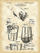 Stir Metal Prints - Cocktail Mixer and Strainer Patent Metal Print by Stephen Younts