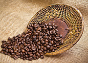 Burlap Prints - Coffee Beans Print by Wim Lanclus