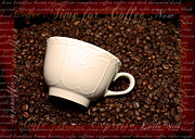 Menu Framed Prints - Coffee cup lying on the coffee beans Framed Print by Tommy Hammarsten