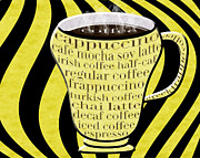 Decaf Prints - Coffee Cup With Stripes Typography Yellow Print by Andee Photography