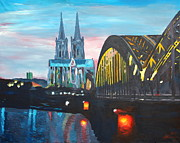Cologne Framed Prints - Cologne Cathedral with Hohenzollernbridge Framed Print by M Bleichner