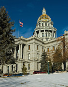 Colorado State Flag Photos - Colorado State Capitol by Frank Tozier