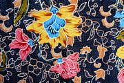 Table Cloth Tapestries - Textiles Metal Prints - Colorful batik cloth fabric background  Metal Print by Prakasit Khuansuwan