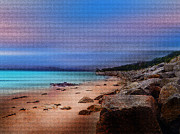 Sunset Prints Tapestries - Textiles Posters - Colorful Beach Poster by Mihai Medves