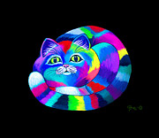 Feline Digital Art - Colorful Cat by Nick Gustafson
