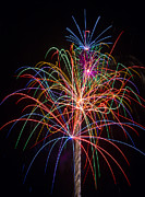 Pyrotechnic Photo Framed Prints - Colorful Fireworks Framed Print by Garry Gay