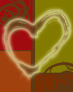 Earth Tone Prints - Colorful Love Print by Lj Lambert