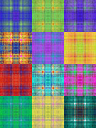 All - Colorful Plaid Triptych Panel 1 by Andee Photography