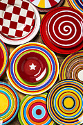 Porcelain Prints - Colorful Plates Print by Garry Gay