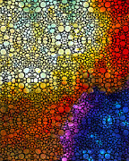 Colorful Stone Rock'd Abstract Art By Sharon Cummings Print by Sharon Cummings