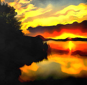 Water Filter Painting Metal Prints - Colors at the lake Metal Print by Odon Czintos