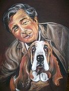 Hound Pastels Framed Prints - Columbo and Dog Framed Print by Martha Suhocke