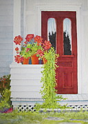 Red Geraniums Painting Posters - Come On In Poster by Mary Ellen  Mueller-Legault