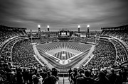 Comiskey Posters - Comiskey Park Night Game - Black and White Poster by Anthony Doudt