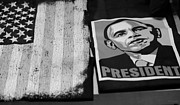 Barack Obama Framed Prints - COMMERCIALIZATION OF THE PRESIDENT OF THE UNITED STATES OF AMERICA in BLACK AND WHITE Framed Print by Rob Hans