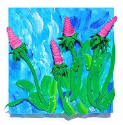 Impasto Sculpture Prints - Cone Flowers Print by Ruth Collis