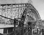 Roller Coaster Posters - Coney Island - Cyclone Roller Coaster Poster by MMG Archives