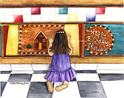 Cookie Painting Prints - Cookie Shopping Print by Sally Storey Jones