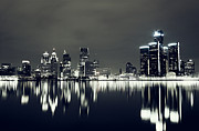 Alanna Pfeffer Framed Prints - Cool Detroit Night Skyline Framed Print by Alanna Pfeffer