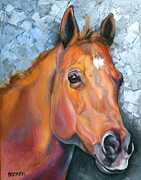 Quarter Horse Drawings Framed Prints - Copper Glow Framed Print by Susan A Becker
