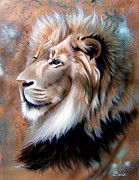 Verdigris Framed Prints - Copper King - Lion Framed Print by Sandi Baker