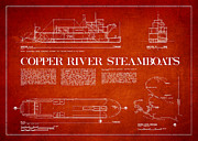 Copper River Steamboats Blueprint Print by Aged Pixel