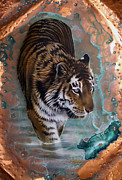 Verdigris Framed Prints - Copper Tiger I  Framed Print by Sandi Baker