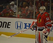 Stanley Cup Playoffs Framed Prints - Corey Crawford Framed Print by Melissa Goodrich