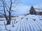 Old Fence With Snow Prints - Cornfield Print by Glenda Barrett