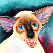 Cornish Rex Cat Paintings - Cornish Rex Cat by Irina Chernysheva