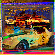 Automotive Illustration Posters - Corvette Racing Poster by Gary Grayson