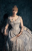 Silk On Canvas Metal Prints - Cosola Demetrio, Portrait Of Mrs Metal Print by Everett