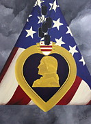 Purple Heart Painting Posters - Cost Of Freedom Poster by D L Gerring