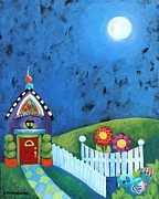Childlike Mixed Media - Cottage at Night by Shelley Overton