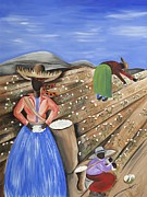 Gullah Art Prints - Cotton Pickin Cotton Print by Patricia Sabree