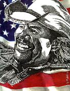 Pen And Ink Portraits Posters - Courtesy of The Red White and Blue Poster by Cory Still