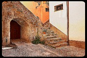 Stone Digital Art Originals - Courtyard of Old house in the ancient village of Cefalu by Stefano Senise