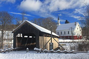 Berkshires Prints - Covered Bridge and Church Conway Massachusetts Print by John Burk